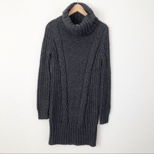 H&M Gray Cable Knit Turtleneck Tunic Sweater Dress